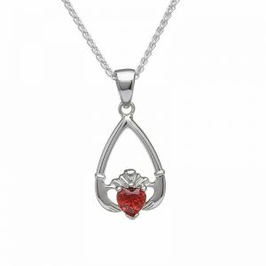 January-Garnet Birthstone Claddagh Pendant