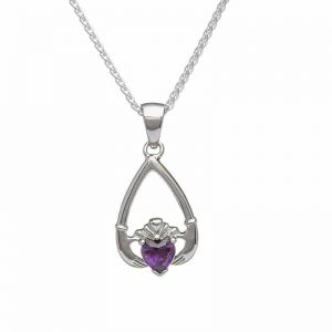 February-Amethyst Birthstone Claddagh Pendant