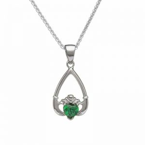 May-Emerald Birthstone Claddagh Pendant