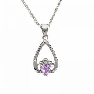 October-Pink Tourmaline Birthstone Claddagh Pendant