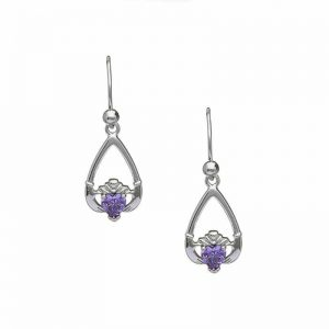 February-Amethyst Birthstone Claddagh Earring