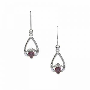June-Alexandrite Birthstone Claddagh Earring