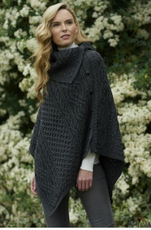 Black Merino Wool Cowl Neck Poncho