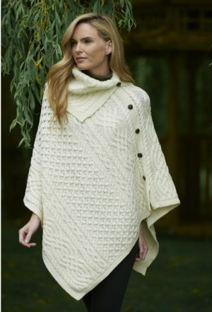 White Merino Wool Cowl Neck Poncho