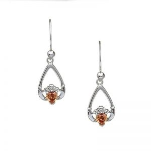 November-Citrine Birthstone Claddagh Earring