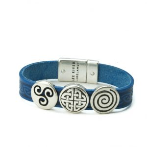 Aoife Blue Celtic Leather Cuff Bracelet