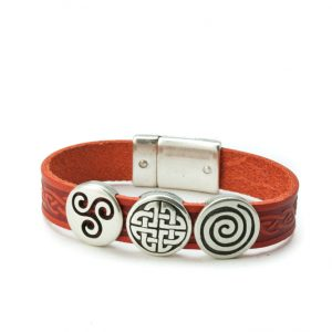 Aoife Red Celtic Leather Cuff Bracelet
