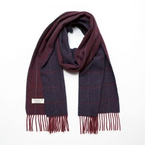 John Hanly Lambswool Wine Navy Scarf