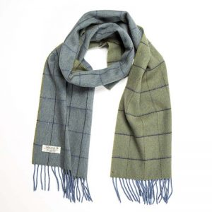 John Hanly Lambswool Blue Green Scarf