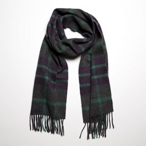 John Hanly Lambswool Purple Green Scarf