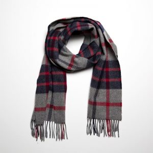 John Hanly Lambswool Navy Gray Scarf