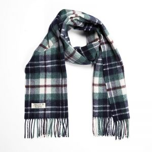 John Hanly Lambswool Green Navy Scarf
