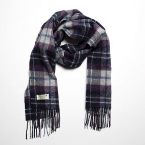 John Hanly Lambswool Purple Grey Scarf