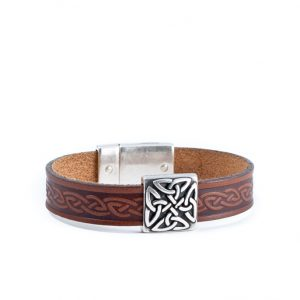 Braden Brown Celtic Cuff Leather Bracelet