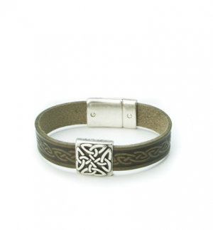 Braden Green Celtic Cuff Leather Bracelet