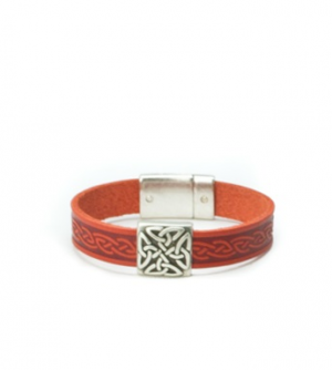 Braden Orange Celtic Cuff Leather Bracelet