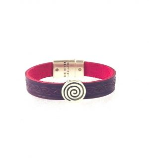 Spiral Purple Celtic Cuff Leather Bracelet