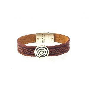 Spiral Brown Celtic Cuff Leather Bracelet