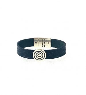 Spiral Navy Celtic Cuff Leather Bracelet