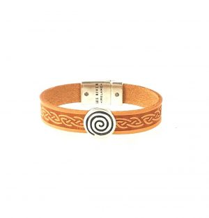 Spiral Tan Celtic Cuff Leather Bracelet