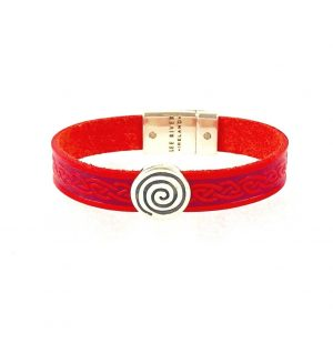 Spiral Red Celtic Cuff Leather Bracelet