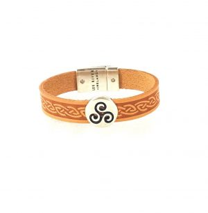 Triskel Tan Celtic Cuff Leather Bracelet