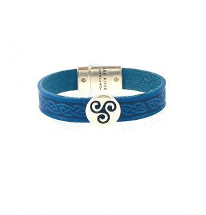 Triskel Blue Celtic Cuff Leather Bracelet