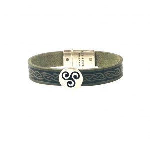 Triskel Green Celtic Cuff Leather Bracelet