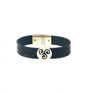 Triskel Black Celtic Cuff Leather Bracelet