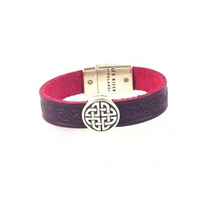 Trinity Purple Celtic Cuff Leather Bracelet