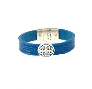 Trinity Blue Celtic Cuff Leather Bracelet