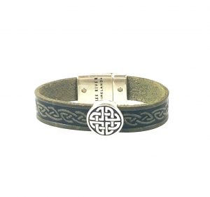 Trinity Green Celtic Cuff Leather Bracelet
