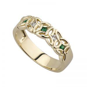 Solvar 9k Gold Diamond Emerald Trinity Ring s2630