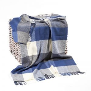 John Hanly Blue Gray Cashmere Blanket
