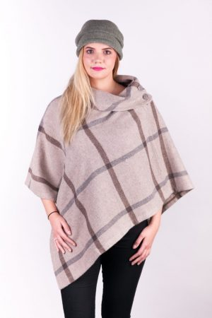 Beige & Gray Check Wool Poncho