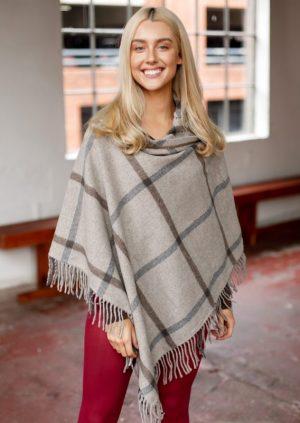 Beige & Gray Check Wool Fringe Poncho