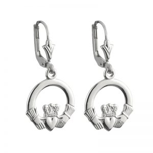 Solvar 14k White Gold Claddagh Drop Earrings