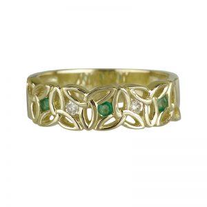 Solvar 14k Gold Diamond Emerald Trinity Ring