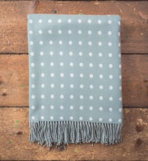 Foxford Aqua Spotted Throw Blanket