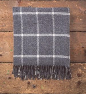 Foxford Gray Windowpane Throw Blanket