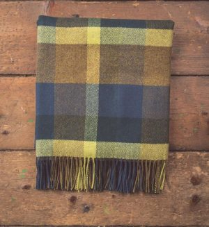 Foxford Peacock Check Throw Blanket
