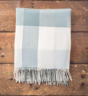 Foxford Aqua Block Check Throw Blanket