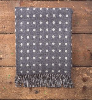 Foxford Grey & White Spot Throw Blanket