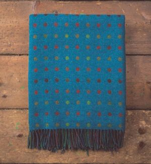 Foxford Turquoise Spot Throw Blanket