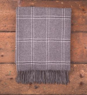 Foxford Grey Windowpane Throw Blanket