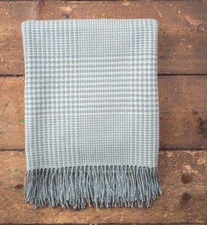 Foxford Aqua Glen Check Throw blanket