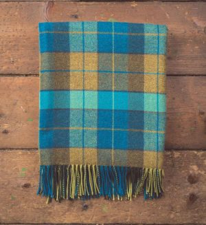 Foxford Peacock Tartan Throw Blanket