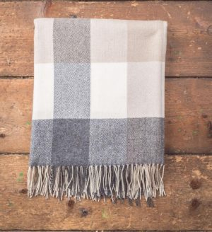 Foxford Gray Bone & White Throw Blanket