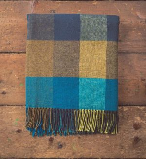 Foxford Peacock Large Check Throw Blanket