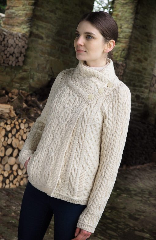 Aran Crafts Three Button Cardigan